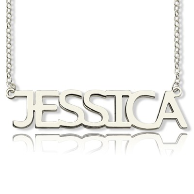 Solid White Gold Plated Jessica Style Name Necklace - By The Name Necklace;