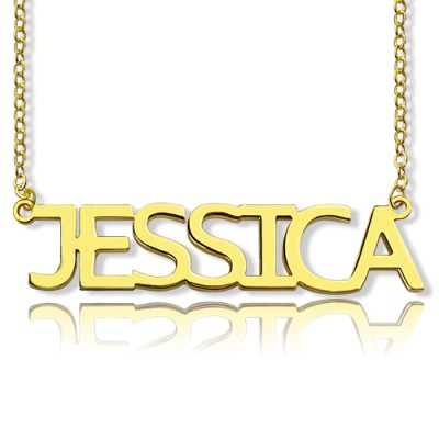 Solid Gold Plated Jessica Style Name Necklace - Handcrafted By My Engraved™