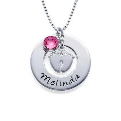 New Mum Necklace with Baby Feet - By The Name Necklace;