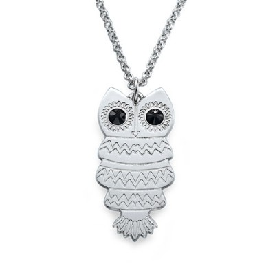 Owl Necklace with Back Engraving With My Engraved