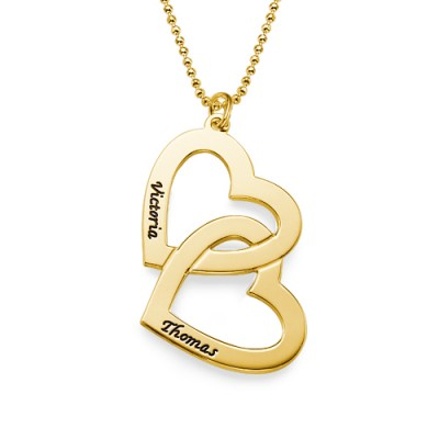 18CT Personalised Gold Plated Heart in Heart Necklace - By The Name Necklace;