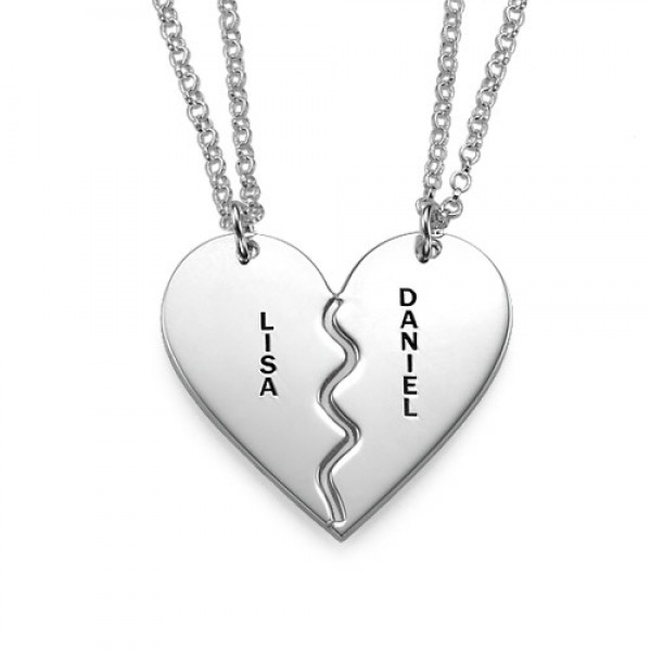 Personalised Silver Breakable Heart Necklaces - By The Name Necklace;