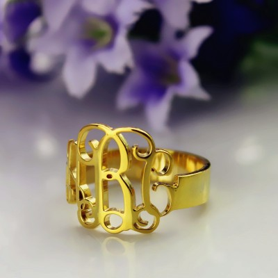 18ct Gold Plated Monogram Ring Cut Out - By The Name Necklace;