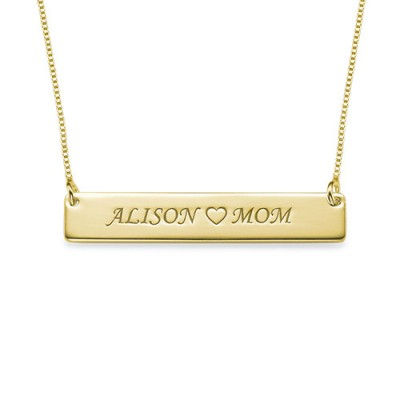 18ct Gold Plated Personalised Nameplate Necklace - By The Name Necklace;