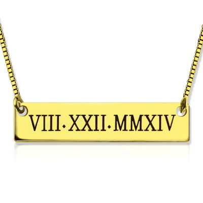 Personalised Roman Numeral Bar Necklace 18ct Gold Plated - By The Name Necklace;