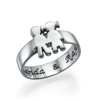 Mum Ring with Children Holding Hands - By The Name Necklace;