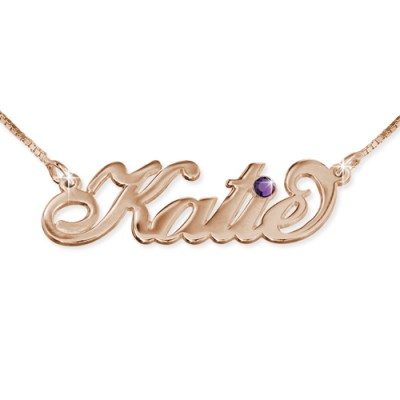 Rose Gold Plated Silver Swarovski Necklace - By The Name Necklace;