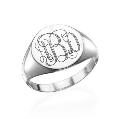 Signet Ring in Sterling Silver with Engraved Monogram With My Engraved