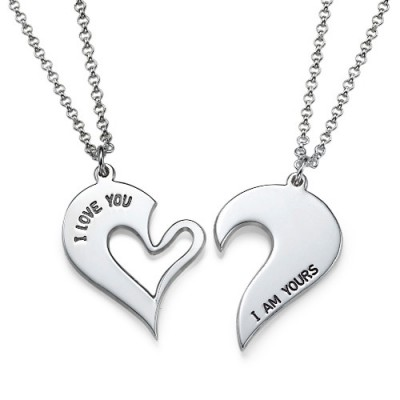 Silver Couples Breakable Heart Necklace - By The Name Necklace;