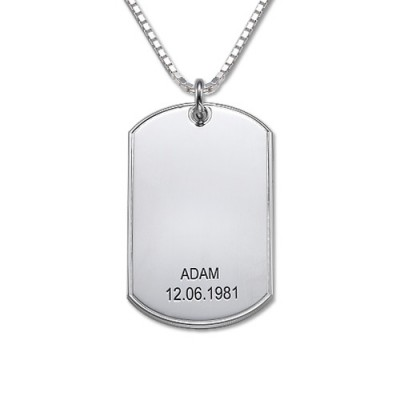Father's Day Gifts - Silver Dog Tag Necklace - By The Name Necklace;