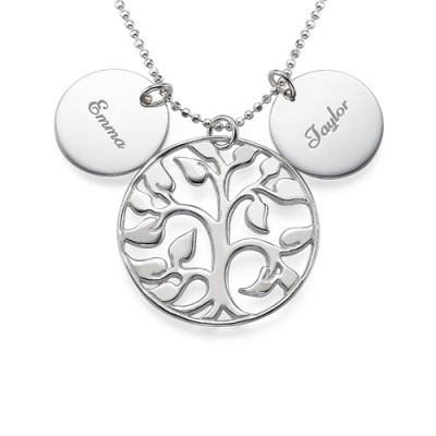 Engraved Disc Cut Out Family Tree Necklace With My Engraved
