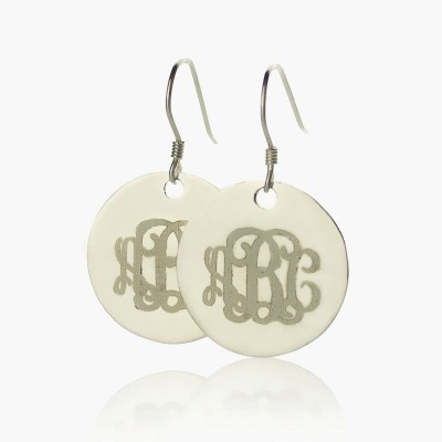 Disc Signet Monogrammed Earrings Sterling Silver - By The Name Necklace;