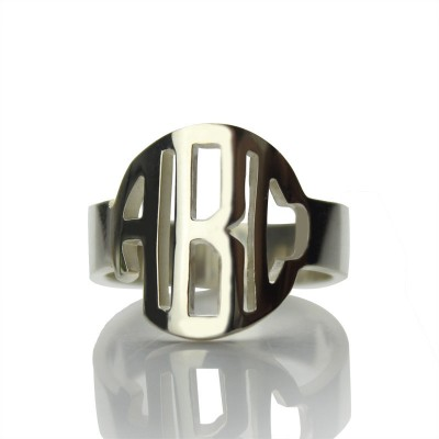 Sterling Silver Block Monogram Ring Gifts - By The Name Necklace;