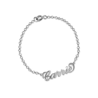 Silver and Crystal Name Bracelet/Anklet - By The Name Necklace;