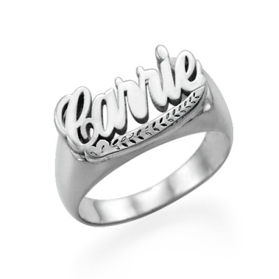 """Sterling Silver """"Carrie"""" Name Ring - By The Name Necklace;"""