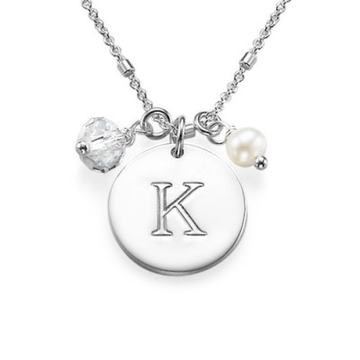 Sterling Silver Charm Initial Pendant - By The Name Necklace;