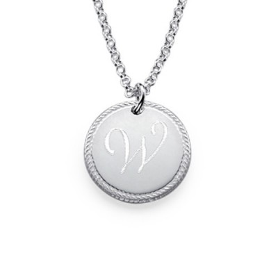 Sterling Silver Circle Initial Necklace - By The Name Necklace;