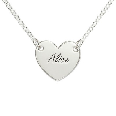 Sterling Silver Engraved Heart Necklace With My Engraved