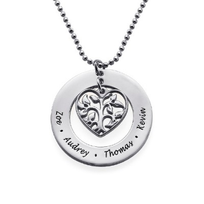 Gifts for Mum - Heart Family Tree Necklace - By The Name Necklace;