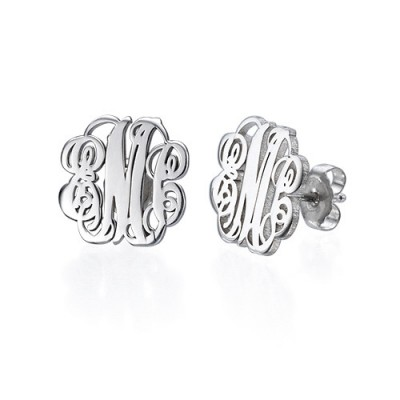 Sterling Silver Monogram Stud Earrings - By The Name Necklace;