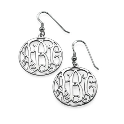Sterling Silver Monogrammed Earrings - By The Name Necklace;