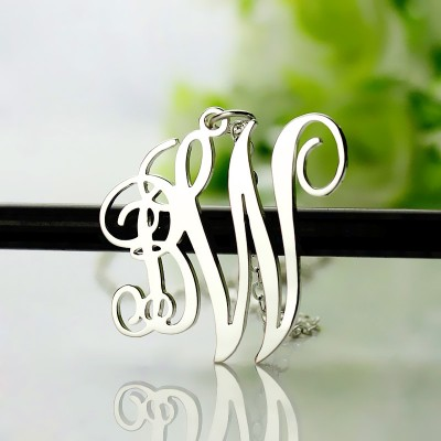 Birthstone Circle Monogram Necklace Sterling Silver  - Handcrafted By My Engraved™