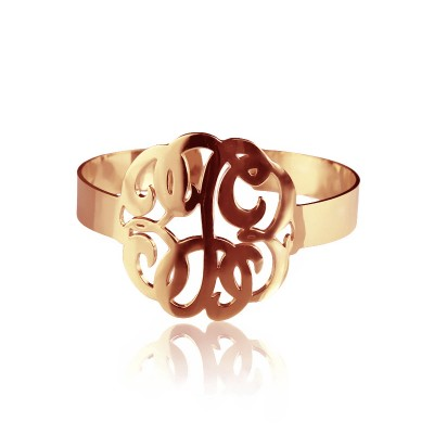 Hand Drawing Monogram Initial Bracelet 1.6 Inch 18ct Rose Gold Plated - By The Name Necklace;