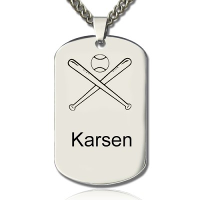 Baseball Dog Tag Name Necklace - By The Name Necklace;