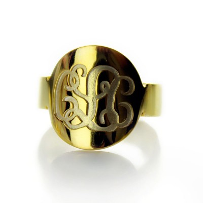 Solid Gold Engraved Monogram Itnitial Ring With My Engraved