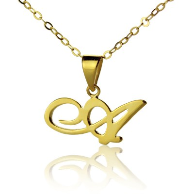 18ct Gold Plated Christina Applegate Initial Necklace - By The Name Necklace;