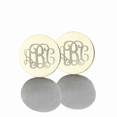 Engraved Monogram Stud Earrings Sterling Silver With My Engraved