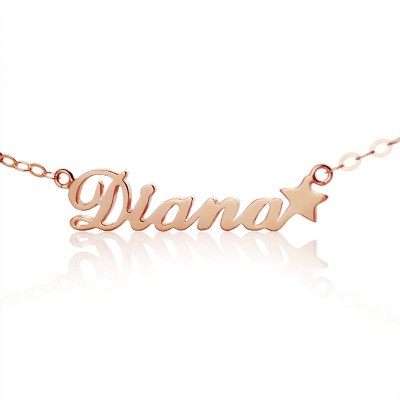 18ct Rose Gold Plated Carrie Style Name Necklace With Star - By The Name Necklace;