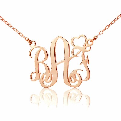 Personalised Initial Monogram Necklace 18ct Solid Rose Gold With Heart - By The Name Necklace;