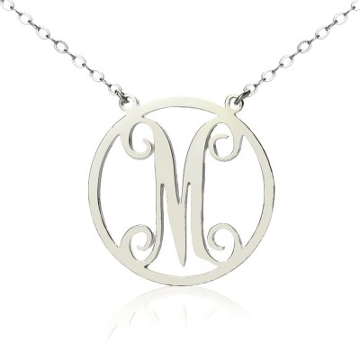Solid White Gold 18ct Single Initial Circle Monogram Necklace - By The Name Necklace;