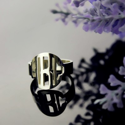 Circle Block Monogram 3 Initials Ring Solid White Gold Ring - By The Name Necklace;