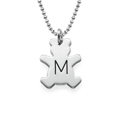 Teddy Bear Necklace with Initial in Silver - By The Name Necklace;