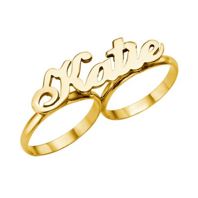 Two Finger Name Ring in Solid 18ct Gold - By The Name Necklace;