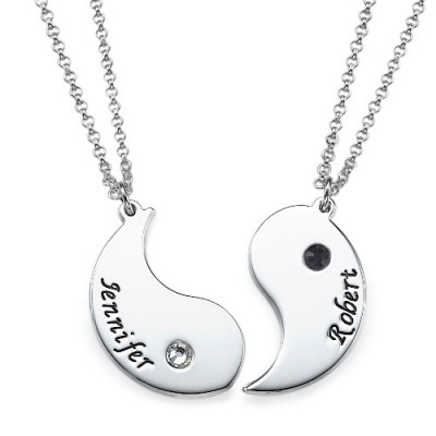 Yin Yang Necklace for Couples with Engraving With My Engraved