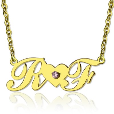 18ct Gold Plated Two Initials Necklace - By The Name Necklace;