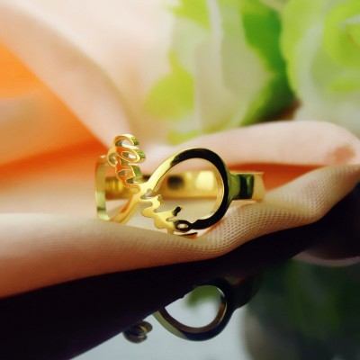 Custom Infinity Name Ring 18ct Gold Plated - By The Name Necklace;