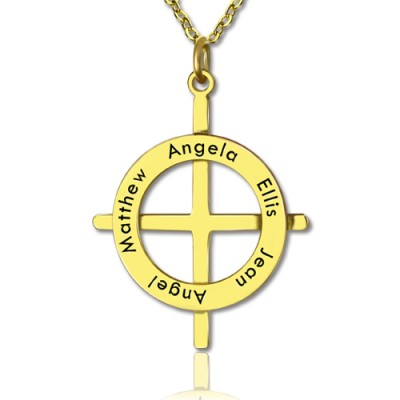 Gold Plated Silver Latin Style Circle Cross Necklace with Any Names - By The Name Necklace;