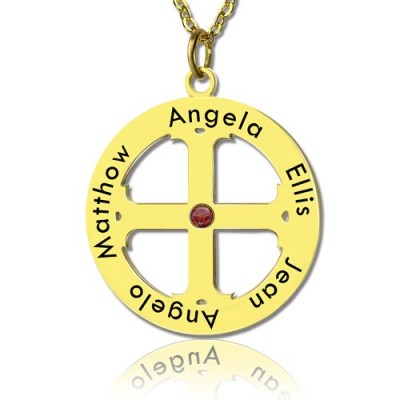Cross Name Necklace with Circle Frame 18ct Gold Plated 925 Silver - By The Name Necklace;