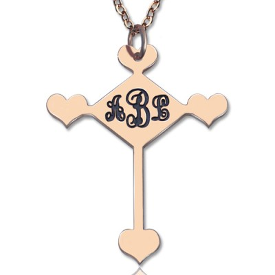 Custom 18ct Rose Gold Plated Cross Monogram Necklace - By The Name Necklace;