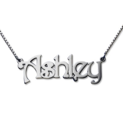 Harrington Style Sterling Silver Name Necklace - By The Name Necklace;