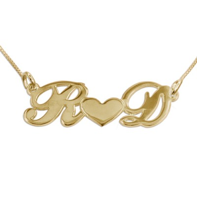 Couples Heart Necklace in 18ct Gold Plating - By The Name Necklace;