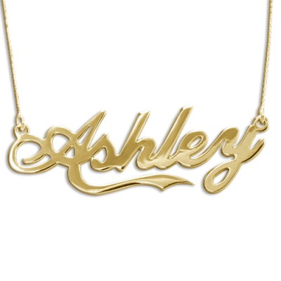 """18ct Gold Plated Silver """"Coca Cola"""" Name Pendant - By The Name Necklace;"""