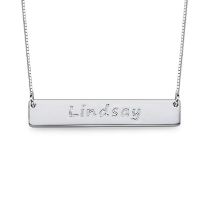 Sterling Silver Bar Nameplate Necklace - By The Name Necklace;