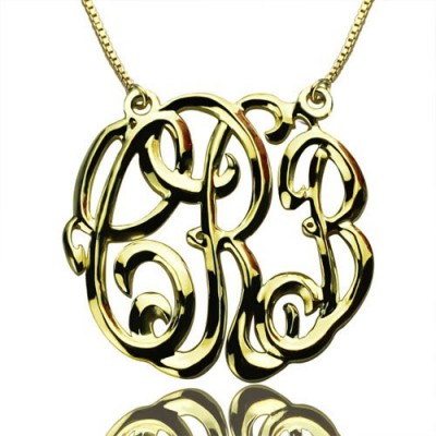 Celebrity Cube Premium Monogram Necklace Gifts 18ct Gold Plated - By The Name Necklace;