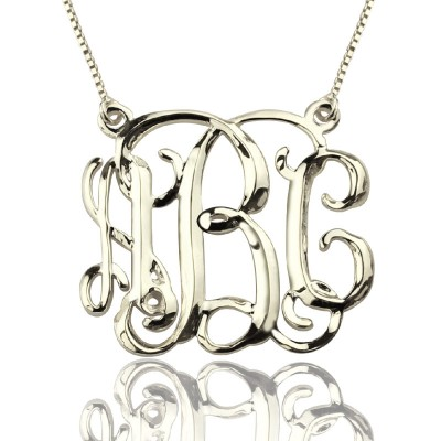 Personalised Cube Monogram Initials Necklace Sterling Silver - By The Name Necklace;