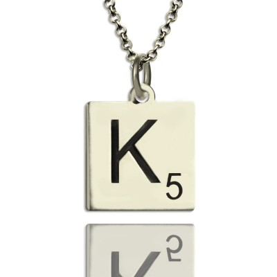 Scrabble Initial Letter Necklace Sterling Silver - By The Name Necklace;